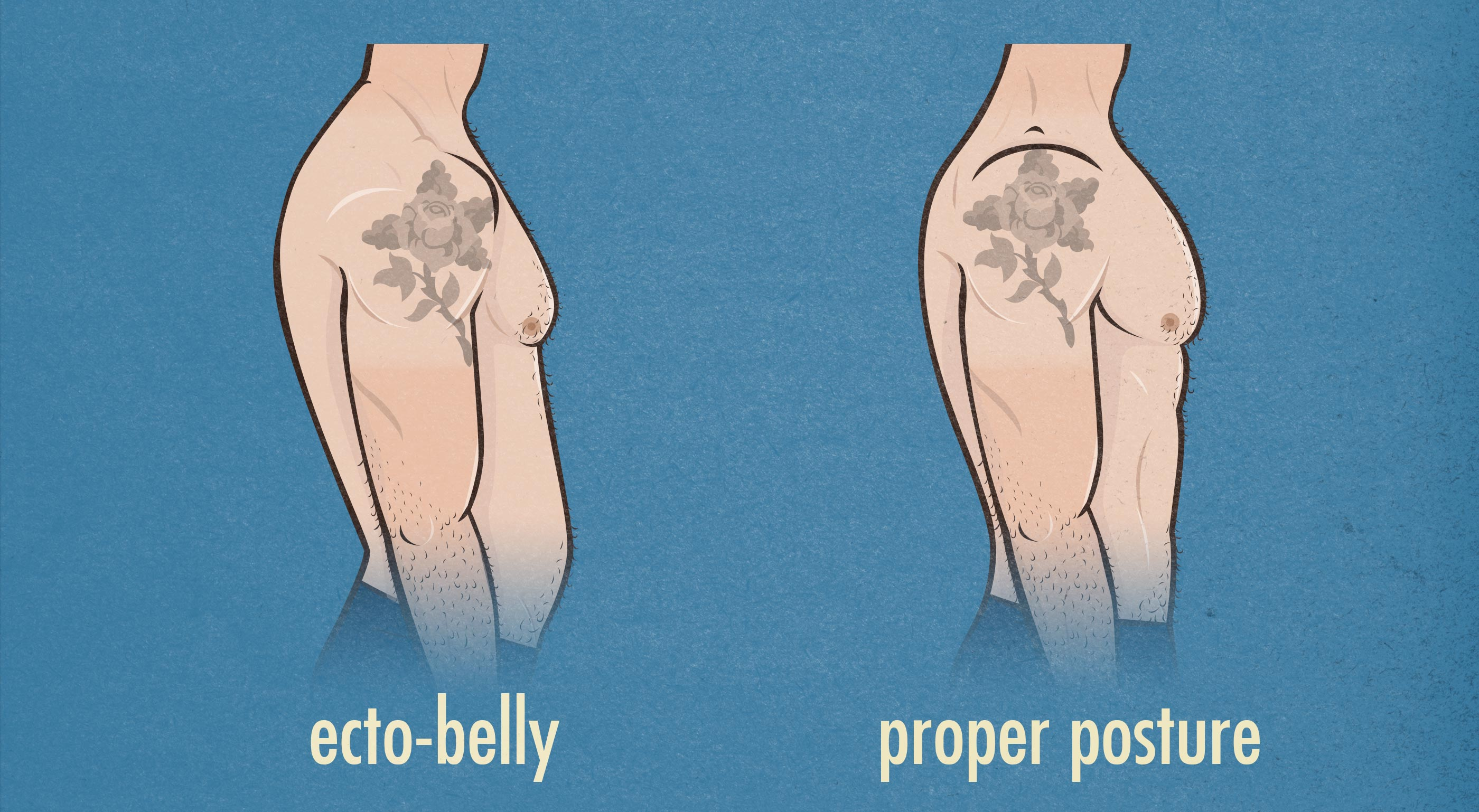 Bad posture can make a belly. Image copyright Bony to Beastly